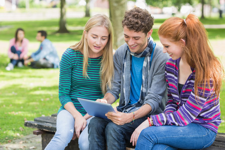 Group of young college students using tablet PC in the park photo