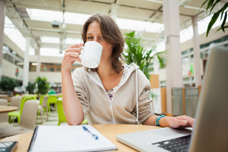 Portrait of a female student drinking coffee while using laptop at cafeteria table photo