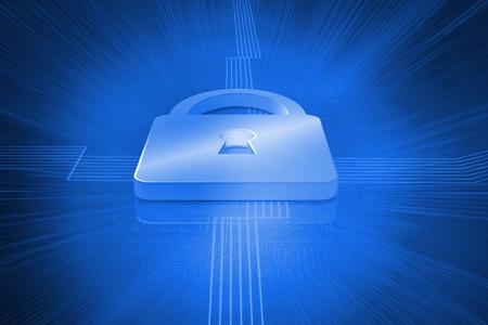 lock  futuristic: Digitally generated lock on futuristic blue background