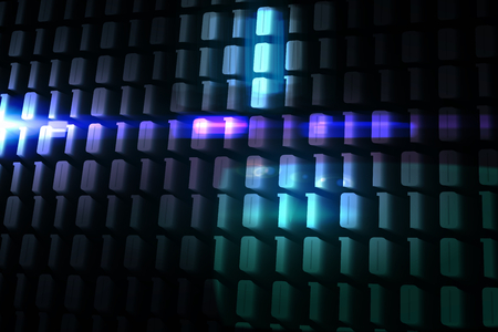 Glowing codes on black background photo