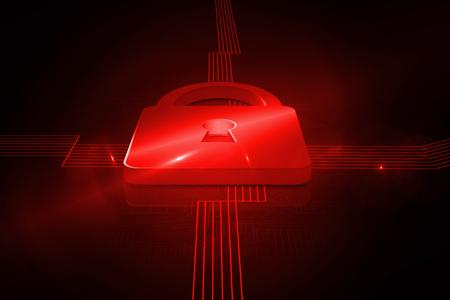 lock  futuristic: Shiny red lock on black background
