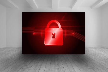 lock  futuristic: Camera con immagine futuristico di blocco rosso