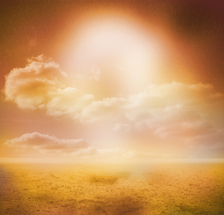 desert sunset: Sunny yellow background