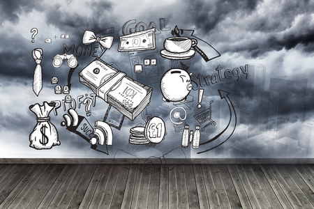 cash cycle: Graphics on wall with stormy sky Stock Photo