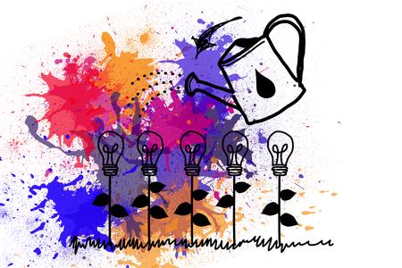 fostering: Light bulbs on paint splashes Stock Photo
