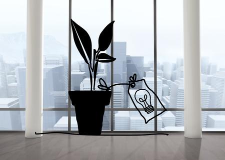 big windows: Light bulb plant in room with big windows Фото со стока