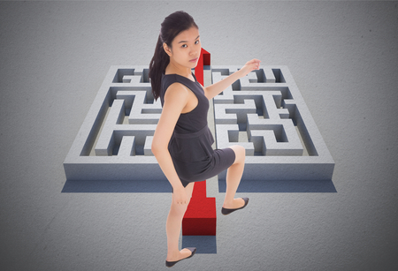 cutting through: Businesswoman stepping up against red arrow cutting through puzzle