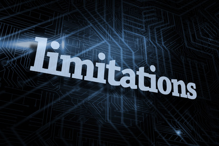 limitations: The word limitations against futuristic black and blue background