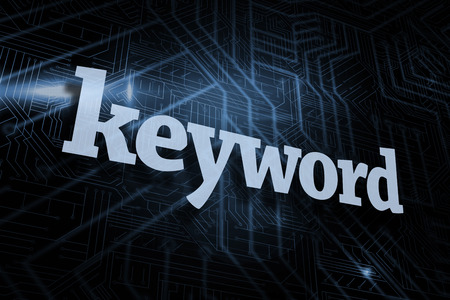 The word keyword against futuristic black and blue background