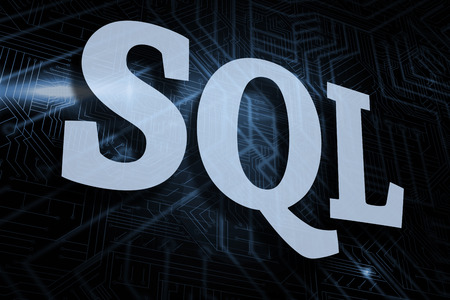 The word sql against futuristic black and blue background Stock Photo