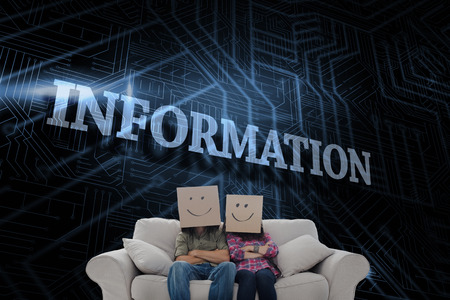 The word information and silly employees with arms folded wearing boxes on their heads against futuristic black and blue background photo