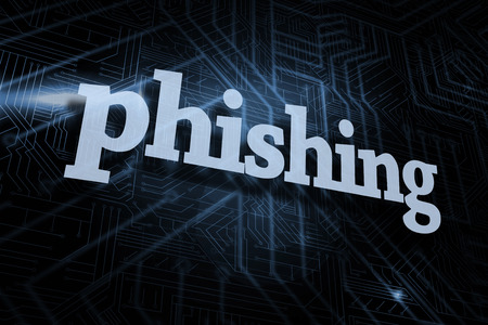scamming: The word phishing against futuristic black and blue background