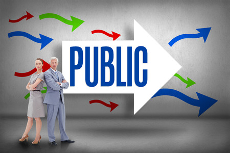 The word public and serious businessman standing back to back with a woman  against arrows pointing photo