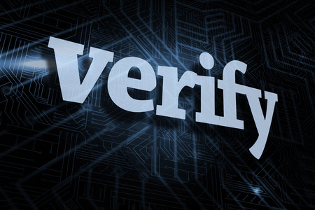 The word verify against futuristic black and blue background Stock Photo