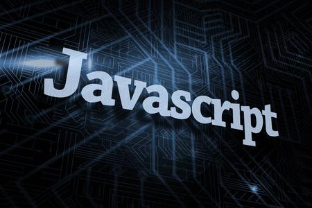 javascript: La palabra javascript contra el fondo negro y azul futurista Foto de archivo
