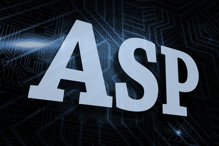 asp: The word asp against futuristic black and blue background