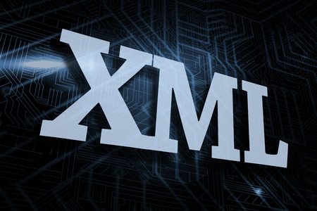 xml: The word xml against futuristic black and blue background