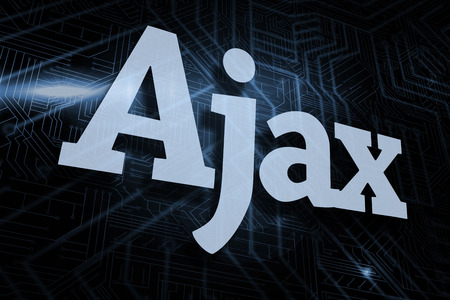 ajax: The word ajax against futuristic black and blue background Stock Photo