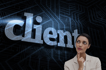 The word client and smiling businesswoman thinking against futuristic black and blue background photo