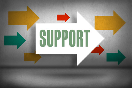 The word support against arrows pointing photo