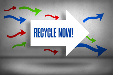 The word recycle now! against arrows pointing photo