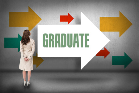 graduation suit: The word graduate and rear view of businesswoman against arrows pointing