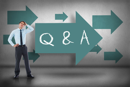 The word q & a and thoughtful businessman with hand on head against blue arrows pointing photo