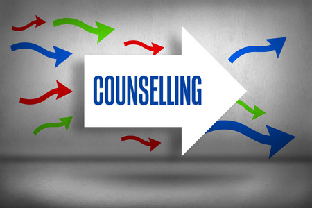 counselling: The word counselling against arrows pointing