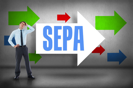 The word sepa and thoughtful businessman with hand on head against arrows pointing photo