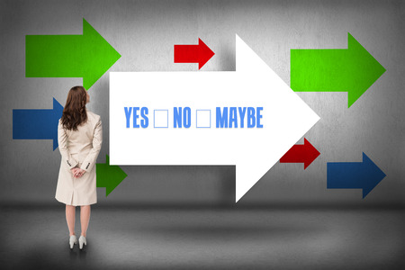 The word yes no maybe and rear view of businesswoman against arrows pointing photo