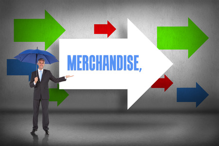 The word merchandise and peaceful businessman holding blue umbrella against arrows pointing Stock Photo - 26801067