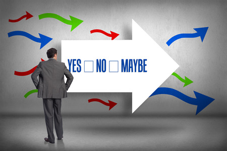 The word yes no maybe and businessman with hands on hips against arrows pointing photo