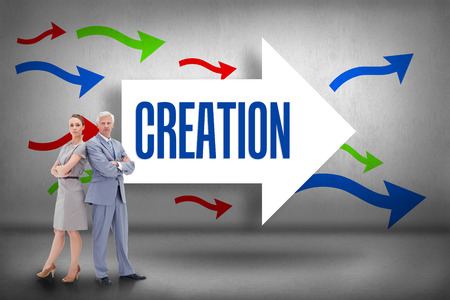 The word creation and serious businessman standing back to back with a woman  against arrows pointing photo