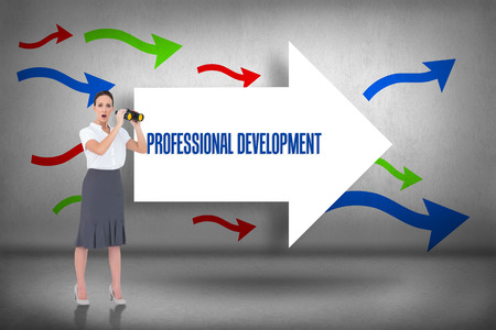 The word professional development and astonished elegant businesswoman holding binoculars against arrows pointing photo