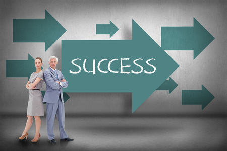 succesful: The word success and serious businessman standing back-to-back with a woman against blue arrows pointing Stock Photo