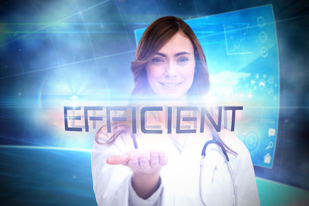 timely: The word efficient and portrait of female nurse holding out open palm against futuristic technology interface