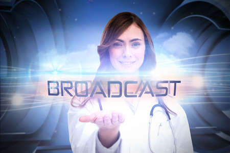 The word broadcast and portrait of female nurse holding out open palm against abstract white cloud design photo