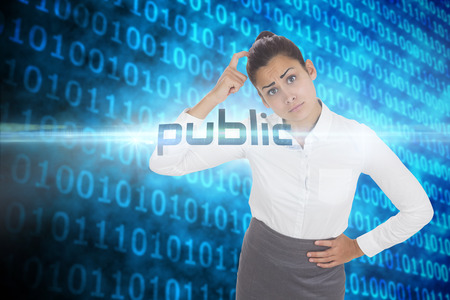 The word public and worried businesswoman against shiny blue binary code on black background photo