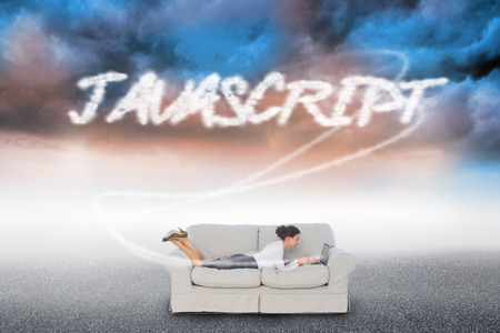 javascript: The word javascript and business woman lying on couch against cloudy landscape background