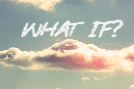 what if: The word what if against bright blue sky with cloud Stock Photo