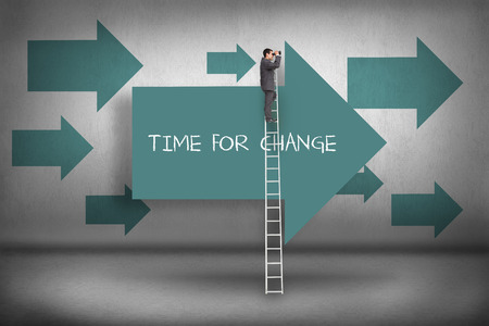dressed for success: The word time for change and businessman standing on ladder using binoculars against blue arrows pointing