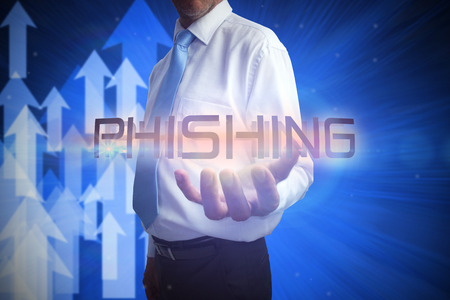 scamming: Businessman presenting the word phishing against shiny arrows pointing up Stock Photo