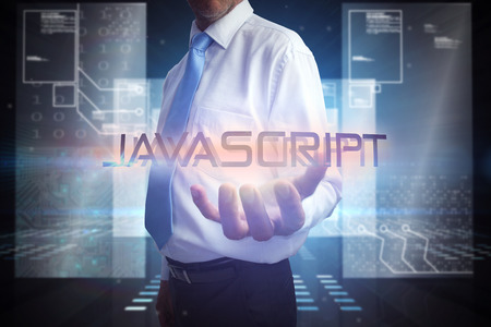 javascript: Businessman presenting the word javascript against hologram on black background with squares Stock Photo
