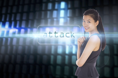 The word attack and thoughtful businesswoman against glowing codes on black background photo