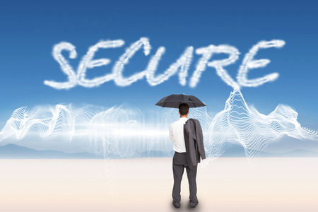 The word secure and businessman standing back to camera holding umbrella and jacket on shoulder against energy design over landscape photo
