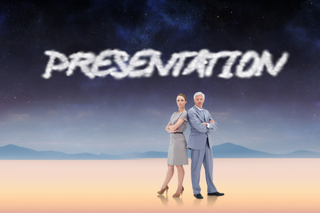 The word presentation and serious businessman standing back to back with a woman  against serene landscape photo