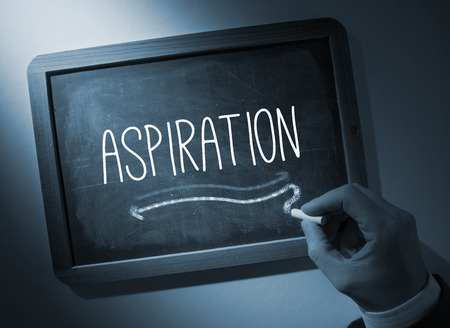 Hand writing the word aspiration on black chalkboard Stock Photo