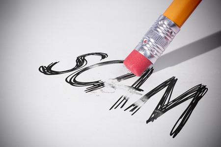 erasing: Pencil erasing the word scam on paper