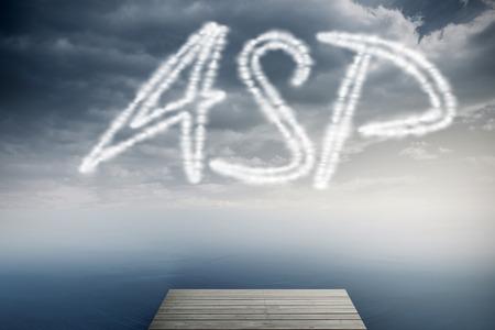 asp: The word asp against cloudy sky over ocean