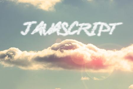 javascript: La palabra javascript contra el cielo azul brillante con nubes